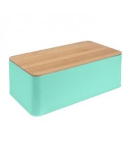 FRANDIS Boîte a pain rectangulaire  Métal  Couvercle bois vert mat