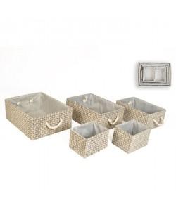 Lot de 5 boites de rangement en osier et tissu  20 x 43 / 2 x 15 x 32 / 2 x 13 x 16 cm  Beige