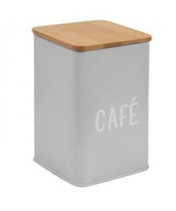 FRANDIS Boîte a café en métal et bois  9,5 x 9,5 x 14 cm  Gris mat
