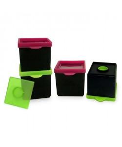 YOKO DESIGN Set de 4 boîtes TopBox noir, vert et fuchsia