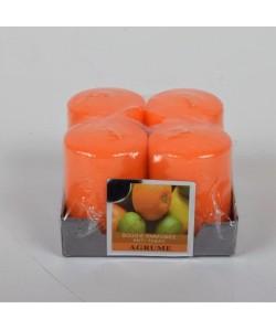 Lot de 4 Bougies parfumées Agrume  4x6cm
