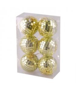 Lot de 6 boules Miroir  6 cm  Coloris or