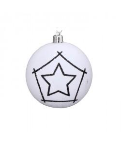Boule de Noël avec dessin étoile en PVC Ř 10 cm