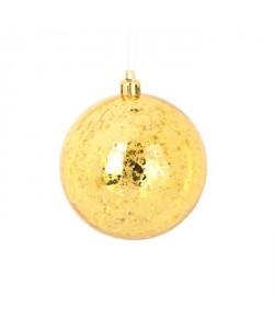 Lot de 6 Boules de Noël en Plastique Doré 6 cm