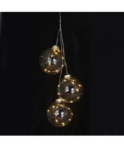 Lot de 3 Boules de Noël Lumineuses en verre 10x8cm