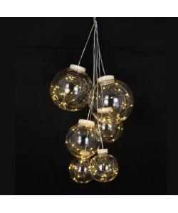 Lot de 6 Boules de Noël Lumineuses en PVC et cuivre
