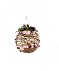 Boule de Noël avec ruban marron en rotin Ř 20 cm