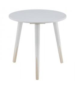 PENCIL Bout de canapé/table d\'appoint ronde style scandinave blanc et naturel  L 40 x l 40 cm
