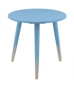 PENCIL Bout de canapé/table d\'appoint ronde style scandinave bleu et naturel  L 40 x l 40 cm
