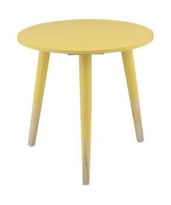 PENCIL Bout de canapé/Table d\'appoint ronde style scandinave jaune et naturel  L 40 x l 40 cm