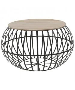 NEST Table basse ronde style industriel naturel et noir  L 65 x l 65 cm