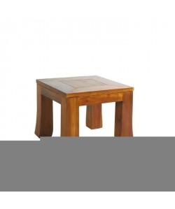 BISHO Bout de canapé ethnique en Teck  L 43 x l 43 x H 33 cm