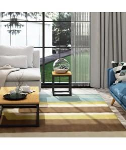 FACTO Bout de canapé industriel en métal époxy noir  plateau placage bois chene massif verni  L 35 cm