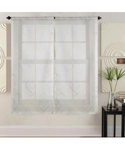 Paire de vitrages 60x160 cm Beige avec motifs