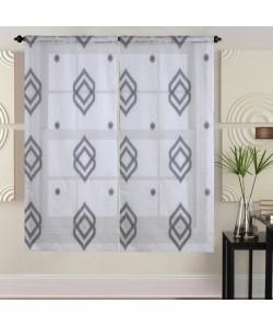 Paire de vitrages 60x160 cm Noir avec motifs