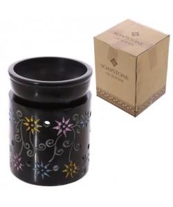 Brűleur a huile en stéatite noir  Fleurs colorés a l\'eauforte