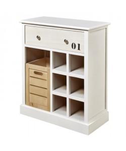 ITAQUI Buffet cuisine contemporain en bois paulownia massif et MDF blanc, gris clair et naturel  L 60 cm