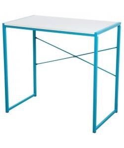 ZARO Bureau contemporain en métal  Blanc et bleu turquoise  L 80 cm