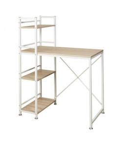 LODZ Bureau classique métal et MDF blanc  L 90 cm