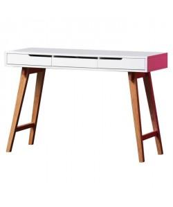 ANNEKE Bureau scandinave laqué blanc mat et pieds en bois hetre massif  L 120 cm