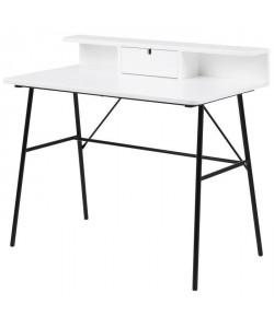PASCAL Bureau contemporain laqué blanc  pieds en acier laqué noir  L 100 cm