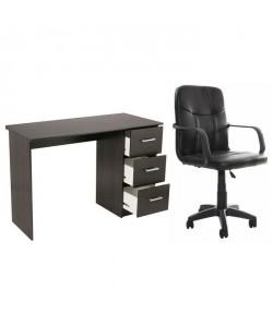 Ensemble Bureau ESSENTIELLE café  fauteuil de bureau SILLA noir