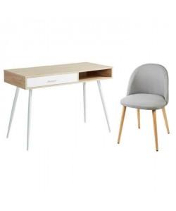 Ensemble Bureau FIFTIES décor chene pieds en métal  chaise de salle a manger MACARON pieds en bois hetre massif gris clair