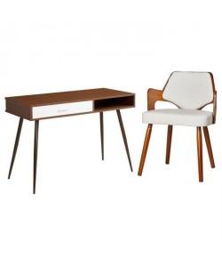 Ensemble Bureau FIFTIES décor noyer pieds en métal  chaise de salle a manger KIRUNA en bois bambou blanc