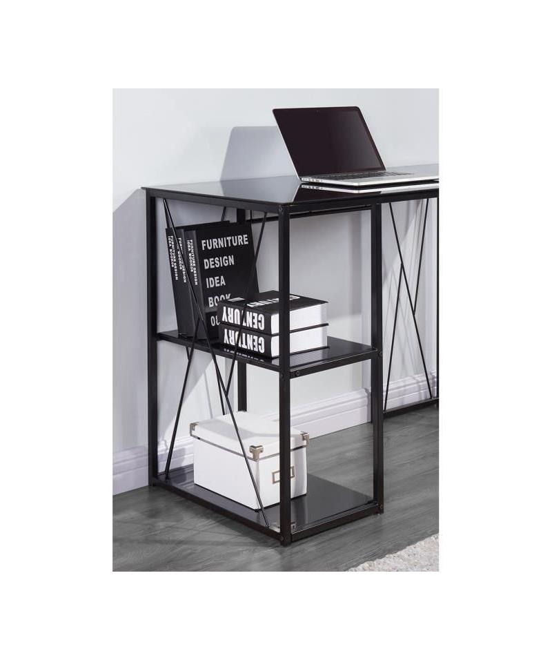 trigo bureau contemporain en m tal et verre tremp noir laqu l 110 cm. Black Bedroom Furniture Sets. Home Design Ideas