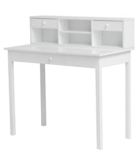 WHITE Bureau classique en bois blanc L 100 cm