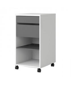 FUNCTION PLUS Caisson a roulettes contemporain décor blanc et gris  L 40 cm