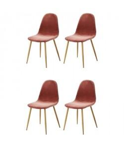 CHARLTON VELVET Lot de 4 chaises de salle a manger  Métal imprimé bois revetu de velours rose  Scandinave  L 43 x P 55 cm
