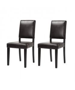 LEESTON Lot de 2 chaises de salle a manger  Simili marron foncé  Classique  L 50 x P 56 cm