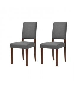 LEESTON Lot de 2 chaises de salle a manger  Simili gris foncé  Classique  L 50 x P 56 cm