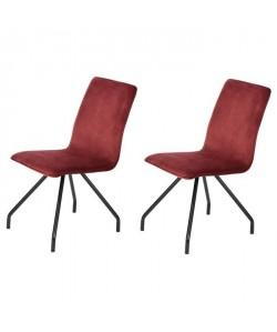 LINNEA VELVET Lot de 2 chaises de salle a manger  Métal revetu de velours rouge  Contemporain  L 46 x P 58 cm