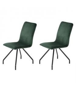 LINNEA VELVET Lot de 2 chaises de salle a manger  Métal revetu de velours vert  Contemporain  L 46 x P 58 cm