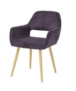 CROMWELL Chaise de salle a manger en métal imprimé bois  Revetement tissu violette  Scandinave  L 56 x P 56 cm