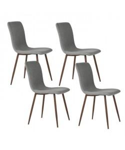 SCARGILL Lot de 4 chaises en tissu gris  Pieds décor bois  Scandinave  L 44 x P 54 cm