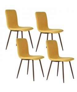 SCARGILL Lot de 4 chaises en tissu jaune  Pieds décor bois  Scandinave  L 44 x P 54 cm