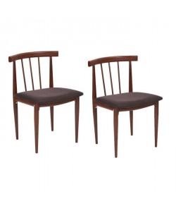 HULDA Lot de 2 chaises de salle a manger en métal imprimé bois  Revetement tissu marron  Vintage  L 50 x P 42 cm