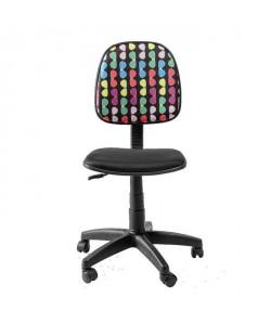 LUNETTES Chaise de bureau réglable et sur roulettes  En tissu noir  L 46 x P 40 cm