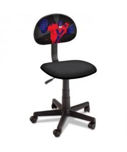 SUPER HERO Chaise de bureau réglable et sur roulettes  En tissu noir