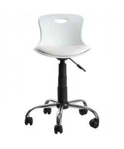 LYLO Chaise de bureau  Simili blanc  Vintage  L 44 x P 51,5 cm