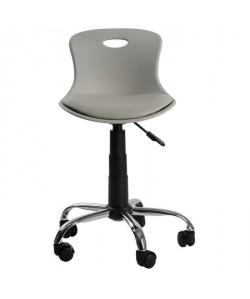 LYLO Chaise de bureau  Simili gris souris  Vintage  L 44 x P 51,5 cm