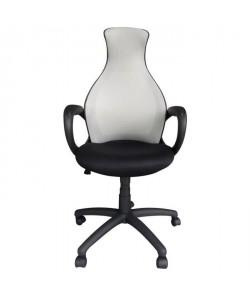 PEAR Fauteuil de bureau  Tissu gris et noir  Style contemporain  L 65 x P 67 cm
