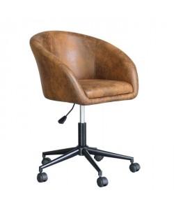 HARRY Fauteuil de bureau en simili  Marron vieilli et noir  L 50 x P 55 cm