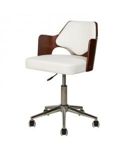 KIRUNA Chaise de bureau en simili blanc  Accoudoirs bois  Style vintage  L 49 x P 51 cm