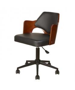 KIRUNA Chaise de bureau en simili noir  Accoudoirs bois  Style contemporain  L 49 x P 51 cm
