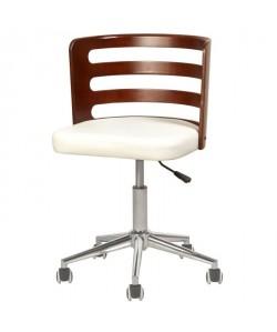 SAMANTHA Chaise de bureau  Simili blanc  Style contemporain  L 46 x P 48 cm