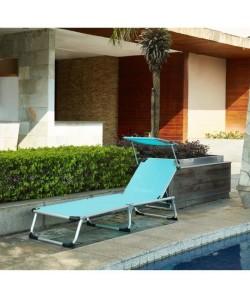 BEAU RIVAGE Chaise longue et paresoleil Bikini en aluminium  Bleu